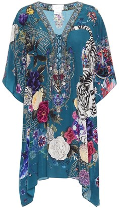 Camilla Printed lace-up silk cover-up