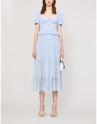 Self-Portrait Lace-trimmed pleated chiffon midi dress