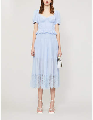 Self-Portrait Self Portrait Lace-trimmed pleated chiffon midi dress