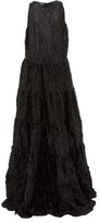 Rochas Tiered Crinkled-satin Gown - Womens - Black