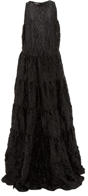 Rochas Tiered Crinkled-satin Gown - Black