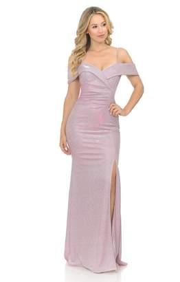 Lenovia Off The Shoulder Pink Metallic Fit & Flare Long Formal Dress