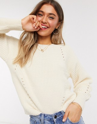 New Look dropped shoulder rib jumper in off white