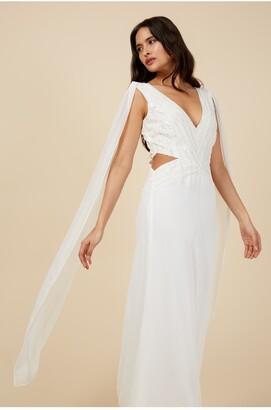 Little Mistress Ivory Maxi Embellished Dress