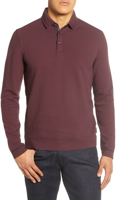 Ted Baker Terned Long Sleeve Knit Polo