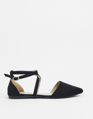 BEBO strappy two part flat shoes in black