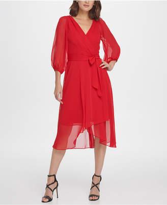 DKNY Balloon Sleeve Chiffon Midi Dress