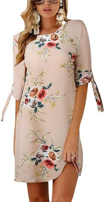 Isshe Womens Dresses Short Floral Printed Chiffon Bowknot Sleeves Holiday Day Dress Ladies Casual Summer Loose Round Neck Tunic Mini Shift Dress Beach Sundress Sun Dresses Sundresses Plus Size Khaki M