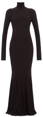 Norma Kamali Fishtail Jersey Dress - Womens - Black