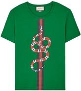 Gucci Green Snake-print Cotton T-shirt