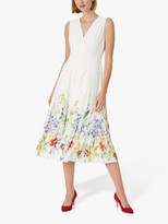 Hobbs Summer Floral Print Midi Dress, Ivory/Multi