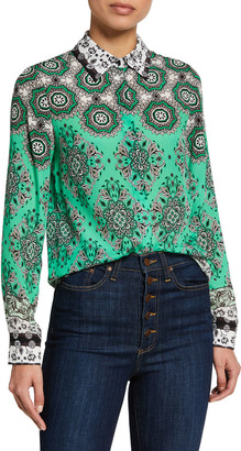 Alice + Olivia Willa Printed Placket Top