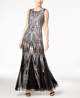 Calvin Klein Sequined Open-Back Mermaid Gown