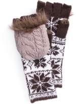 Muk Luks Women's Snowflake Long Flip-Top Mittens