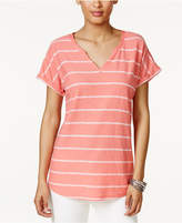 Style&Co. Style & Co Style & Co Petite Striped Split-Neck Top, Created for Macy's