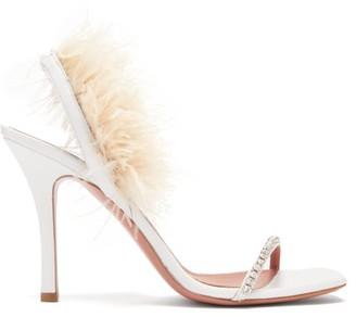 Amina Muaddi Adwoa Crystal And Feather-trimmed Satin Sandals - White