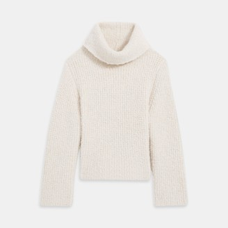 Theory Wool Boucle Fold Over Neck Sweater