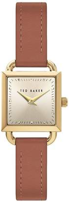 Ted Baker Blush and Gold Detail Square Dial Tan Leather Strap Ladies Watch