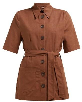 ALBUS LUMEN Safari Belted Cotton Shirt - Brown