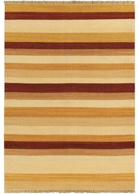Bay Isle Home Vallejo Orange Striped Area Rug