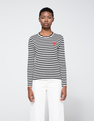 Comme des Garcons Women's Play Striped Long Sleeve T-Shirt in Black, Size Extra Small | 100% Cotton