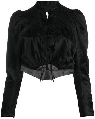Renli Su Velvet Front-Tie Jacket