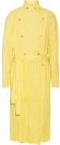 Loewe Crinkled Cotton-blend Poplin Trench Coat - Pastel yellow