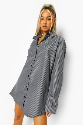boohoo Tall Woven Pinstripe Oversized Shirt Dress