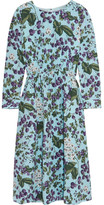 J.Crew Juntos Printed Silk-crepe Dress - Blue