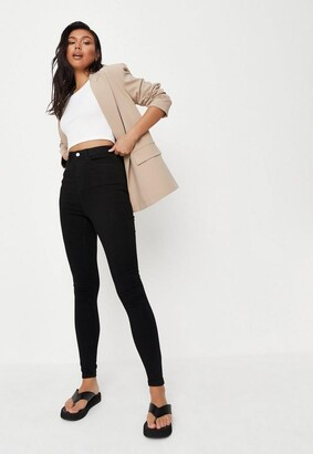 Missguided Black Highwaisted Clean Skinny Jeans