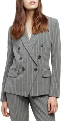 L'Agence Kenzie Pinstripe Double Breasted Blazer
