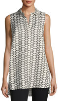 Joan Vass Sleeveless Split-Neck Top