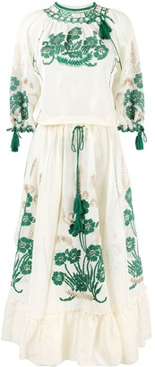 RED Valentino Tassel-Trim Embroidered Dress