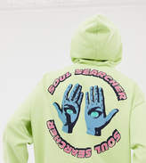 Crooked Tongues oversized hoodie in acid yellow with soul searcher print