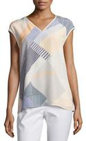 Lafayette 148 New York Bryson Cap-Sleeve Zaza Striped Silk Blouse, Multi