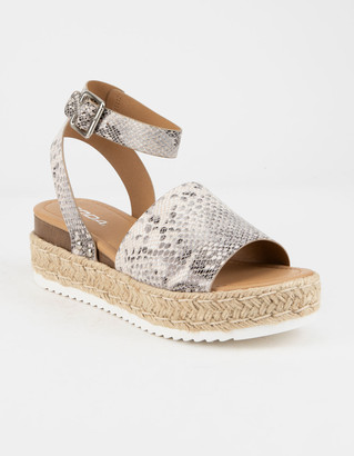 Soda Sunglasses Topic Beige Womens Espadrille Flatform Sandals