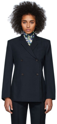 Rokh Navy Distorted Blazer