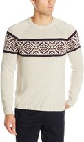 Haggar Men's Fairisle Chest Pattern Raglan Sleeve Crew Neck Sweater
