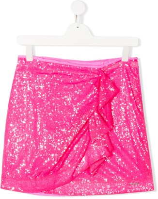 Pinko Kids TEEN sequin embroidered ruffled side skirt