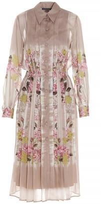 Alberta Ferretti Floral Printed Pleated Shirt Dress