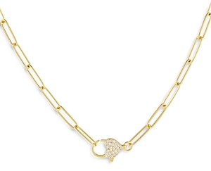 Adina's Jewels Adinas Jewels Pave Heart Clasp Necklace, 14