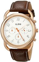A Line a_line Women's AL-80012-YG-02-BR Maya Chronograph Silver Dial Brown Leather Watch