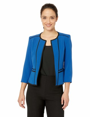 Kasper Women's Petite Jewel Neck Stretch Crepe Fly Away Jacket with Piping