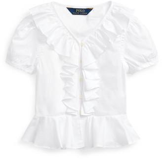 Ralph Lauren Ruffled Cotton Oxford Top