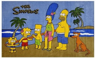 Fun Rugs The Simpsons Hand-Knotted Cotton Blue Area Rug