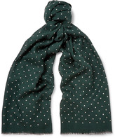 J.crew - Polka-dot Wool And Silk-blend Scarf