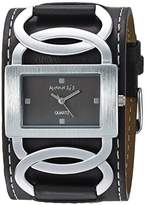 Nemesis Women's NS104K Black Collection Cross Arc Leather Band Watch