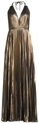Aidan Mattox Pleated Foil Chiffon Gown