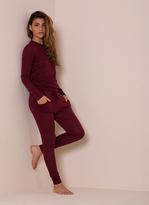 Missy Empire Casa Wine Fine Knit Loungewear Tracksuit