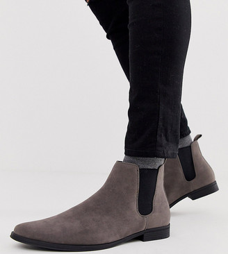 Asos DESIGN Wide Fit chelsea boots in gray faux suede